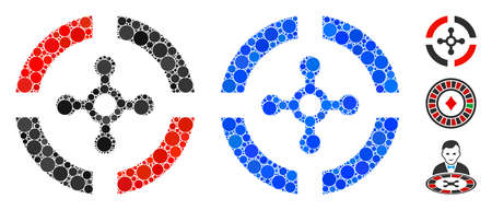 Roulette composition of round dots in various sizes and color hues, based on roulette icon. Vector round dots are organized into blue mosaic. Dotted roulette icon in usual and blue versions.