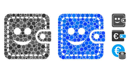 Smiled wallet mosaic of spheric dots in different sizes and color tones, based on smiled wallet icon. Vector round dots are organized into blue mosaic.