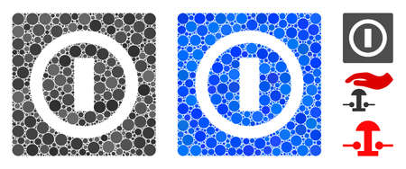 Switch composition of small circles in different sizes and color tints, based on switch icon. Vector random circles are composed into blue composition. Dotted switch icon in usual and blue versions.