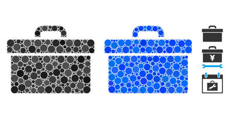 Toolbox mosaic of filled circles in different sizes and color tones, based on toolbox icon. Vector filled circles are united into blue mosaic. Dotted toolbox icon in usual and blue versions.