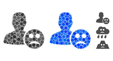 User sad smiley composition of circle elements in various sizes and color tints, based on user sad smiley icon. Vector circle elements are combined into blue mosaic.