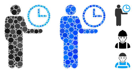 Waiter mosaic of round dots in variable sizes and color hues, based on waiter icon. Vector round dots are combined into blue illustration. Dotted waiter icon in usual and blue versions.
