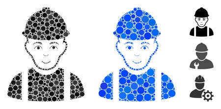 Worker composition of filled circles in different sizes and color hues, based on worker icon. Vector filled circles are grouped into blue composition. Dotted worker icon in usual and blue versions.