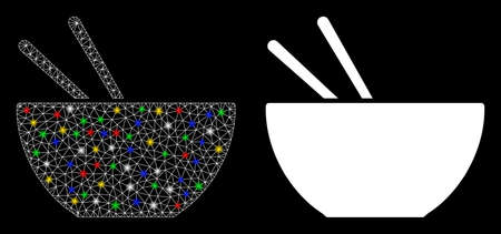 Bright mesh asian food icon with glare effect. Abstract illuminated model of asian food. Shiny wire frame triangular mesh asian food icon. Vector abstraction on a black background.