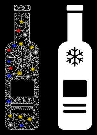 Glowing mesh cold vodka bottle icon with glow effect. Abstract illuminated model of cold vodka bottle. Shiny wire carcass triangular mesh cold vodka bottle icon. 向量圖像