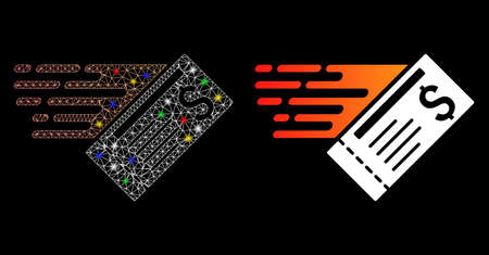 Bright mesh express cheque icon with glitter effect. Abstract illuminated model of express cheque. Shiny wire carcass triangular mesh express cheque icon. Vector abstraction on a black background.