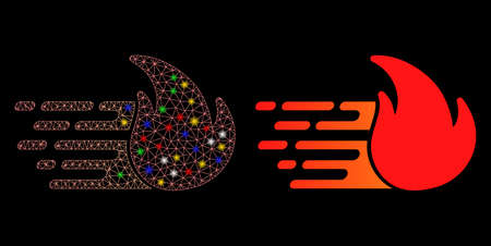 Glowing mesh express fire icon with lightspot effect. Abstract illuminated model of express fire. Shiny wire carcass triangular network express fire icon. Vector abstraction on a black background. Çizim
