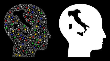 Flare mesh italian thinking icon with glow effect. Abstract illuminated model of italian thinking. Shiny wire carcass triangular mesh italian thinking icon. Vector abstraction on a black background. Ilustração