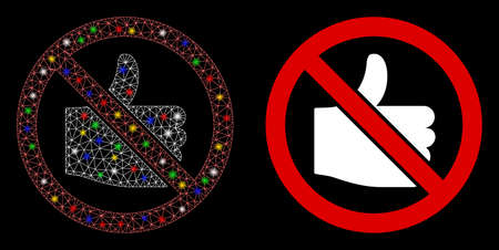 Glowing mesh no likes icon with sparkle effect. Abstract illuminated model of no likes. Shiny wire frame triangular mesh no likes icon. Vector abstraction on a black background.