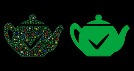 Glossy mesh real teapot icon with glow effect. Abstract illuminated model of real teapot. Shiny wire carcass polygonal mesh real teapot icon. Vector abstraction on a black background. Çizim