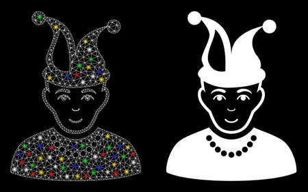 Icône d'imbécile de maille brillante avec effet de lueur. Modèle lumineux abstrait de fou. Icône de fou de maille triangulaire de carcasse de fil brillant. Abstraction vectorielle sur fond noir. Vecteurs