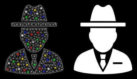 Glowing mesh spy person icon with sparkle effect. Abstract illuminated model of spy person. Shiny wire carcass polygonal mesh spy person icon. Vector abstraction on a black background.