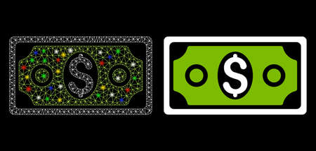 Glossy mesh banknote icon with glare effect. Abstract illuminated model of banknote. Shiny wire carcass polygonal mesh banknote icon. Vector abstraction on a black background.