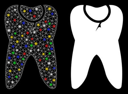 Flare mesh caries tooth icon with glow effect. Abstract illuminated model of caries tooth. Shiny wire frame polygonal mesh caries tooth icon. Vector abstraction on a black background.