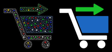 Glowing mesh check out cart icon with lightspot effect. Abstract illuminated model of check out cart. Shiny wire carcass triangular mesh check out cart icon. Vector abstraction on a black background.