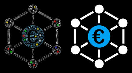 Bright mesh Euro bank network icon with glare effect. Abstract illuminated model of Euro bank network. Shiny wire carcass triangular mesh Euro bank network icon. Ilustrace