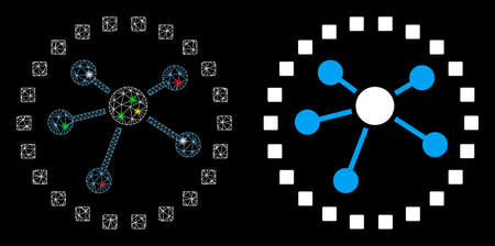 Icono de diagrama de enlaces de malla brillante con efecto de punto de luz. Modelo abstracto iluminado de diagrama de enlaces. Icono de diagrama de enlaces de malla triangular de marco de alambre brillante. Abstracción de vector sobre fondo negro.