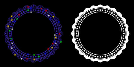 Flare mesh rosette circular star frame icon with lightspot effect. Abstract illuminated model of rosette circular star frame. Shiny wire carcass polygonal mesh rosette circular star frame icon.