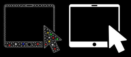 Flare mesh tablet arrow pointer icon with sparkle effect. Abstract illuminated model of tablet arrow pointer. Shiny wire carcass polygonal mesh tablet arrow pointer icon.