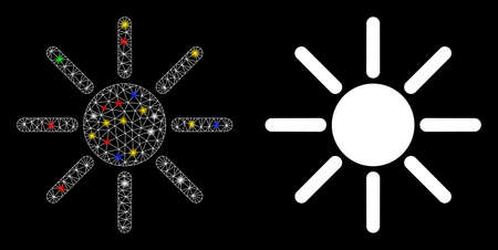 Glowing mesh sun icon with glare effect. Abstract illuminated model of sun. Shiny wire carcass polygonal network sun icon. Vector abstraction on a black background.