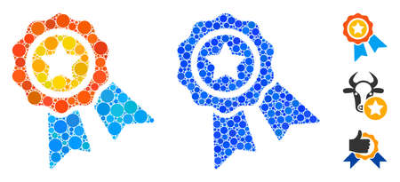 Award badge mosaic of circle elements in variable sizes and shades, based on award badge icon. Vector round elements are grouped into blue mosaic. Dotted award badge icon in usual and blue versions.