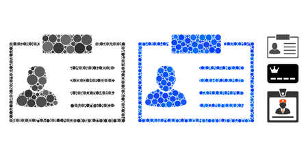 Badge mosaic of spheric dots in different sizes and color tinges, based on badge icon. Vector dots are combined into blue mosaic. Dotted badge icon in usual and blue versions.