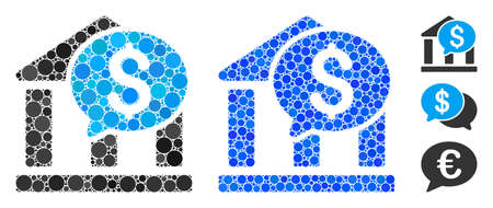 Bank message mosaic of small circles in variable sizes and color tints, based on bank message icon. Vector random circles are composed into blue mosaic.