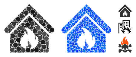 Building fire composition of filled circles in different sizes and color tones, based on building fire icon. Vector random circles are combined into blue composition.