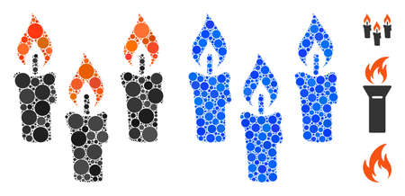 Candles mosaic of small circles in variable sizes and color tones, based on candles icon. Vector small circles are united into blue mosaic. Dotted candles icon in usual and blue versions.
