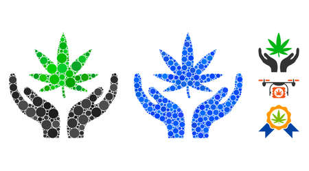 Cannabis care composition of filled circles in different sizes and color tones, based on cannabis care icon. Vector filled circles are grouped into blue mosaic.