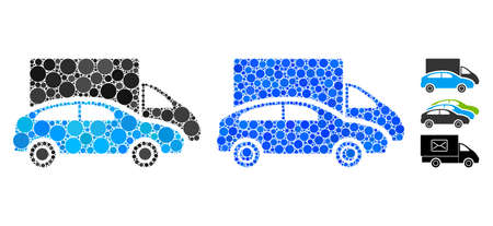 Cars composition of spheric dots in different sizes and color tinges, based on cars icon. Vector dots are united into blue composition. Dotted cars icon in usual and blue versions.