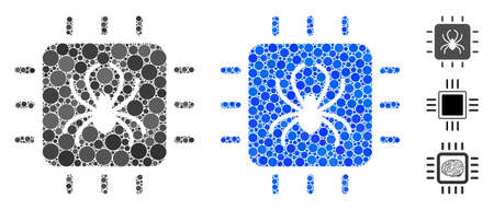Chip bug composition of round dots in variable sizes and shades, based on chip bug icon. Vector dots are combined into blue composition. Dotted chip bug icon in usual and blue versions.