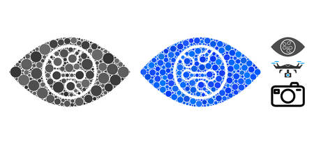 Digital eye lens composition of circle elements in variable sizes and shades, based on digital eye lens icon. Vector circle elements are combined into blue composition.