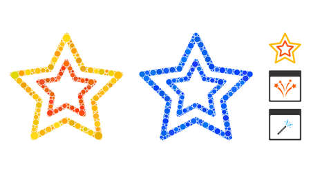 Countour stars composition of filled circles in variable sizes and shades, based on countour stars icon. Vector filled circles are grouped into blue mosaic.
