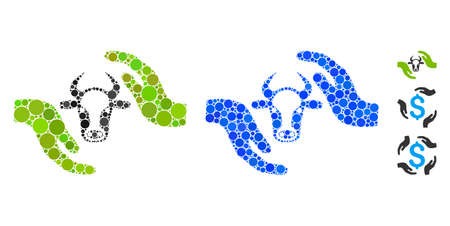 Cow protection hands composition of circle elements in different sizes and color tones, based on cow protection hands icon. Vector circle elements are combined into blue composition. Иллюстрация