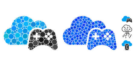 Cloud game controller composition of circle elements in various sizes and color tones, based on cloud game controller icon. Vector random circles are combined into blue composition.