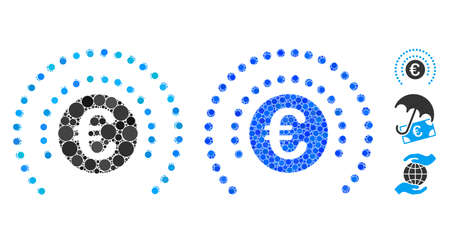 Euro shield sphere composition of circle elements in variable sizes and color hues, based on Euro shield sphere icon. Vector circle elements are organized into blue composition.