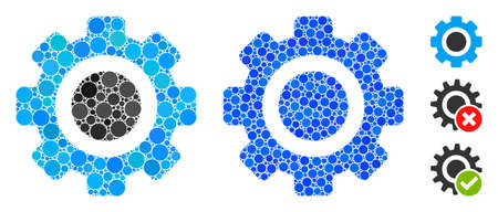Gear composition of circle elements in different sizes and color tinges, based on gear icon. Vector round elements are grouped into blue composition. Dotted gear icon in usual and blue versions.