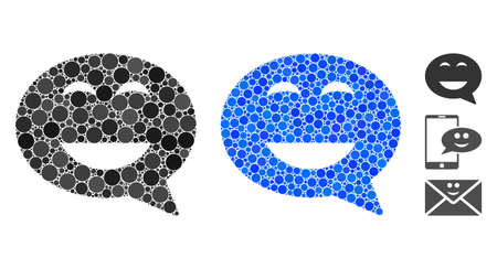 Glad smiley message mosaic of small circles in variable sizes and color tints, based on glad smiley message icon. Vector small circles are grouped into blue composition.