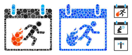 Fire evacuation man calendar day mosaic of small circles in different sizes and color tones, based on fire evacuation man calendar day icon. Vector filled circles are composed into blue mosaic. Vecteurs