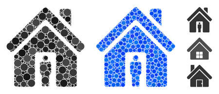 House owner composition of round dots in variable sizes and shades, based on house owner icon. Vector dots are organized into blue illustration. Dotted house owner icon in usual and blue versions.