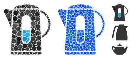 Kettle mosaic of spheric dots in various sizes and color hues, based on kettle icon. Vector dots are composed into blue mosaic. Dotted kettle icon in usual and blue versions. Illustration