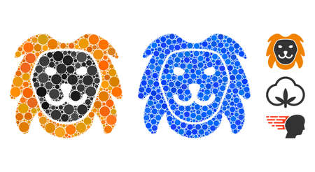 Lion head mosaic of round dots in different sizes and color tinges, based on lion head icon. Vector round dots are organized into blue composition. Dotted lion head icon in usual and blue versions. Иллюстрация