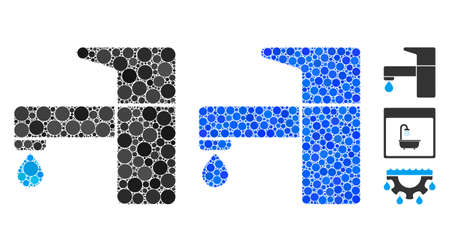 Kitchen tap composition of small circles in variable sizes and color tints, based on kitchen tap icon. Vector small circles are combined into blue mosaic. Ilustrace