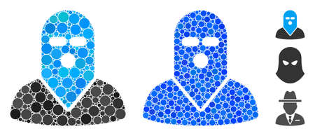 Masked killer composition of small circles in various sizes and color tints, based on masked killer icon. Vector filled circles are composed into blue composition.