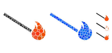 Match fire mosaic of small circles in variable sizes and color hues, based on match fire icon. Vector small circles are composed into blue illustration.
