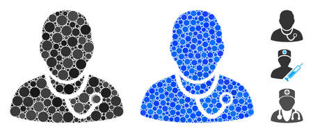 Medic composition of round dots in various sizes and color hues, based on medic icon. Vector round elements are organized into blue composition. Dotted medic icon in usual and blue versions.