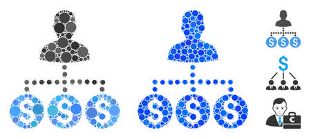 Money collector composition of filled circles in variable sizes and color tints, based on money collector icon. Vector filled circles are combined into blue collage.