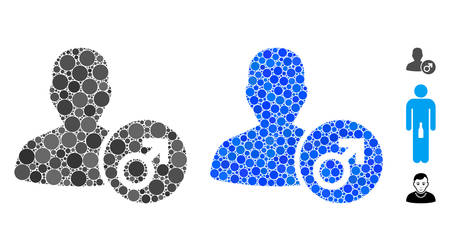 Male mosaic of circle elements in different sizes and color hues, based on male icon. Vector circle elements are combined into blue mosaic. Dotted male icon in usual and blue versions.