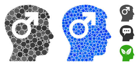 Male symbol head mosaic of circle elements in various sizes and color tinges, based on male symbol head icon. Vector circle elements are grouped into blue composition. Vettoriali